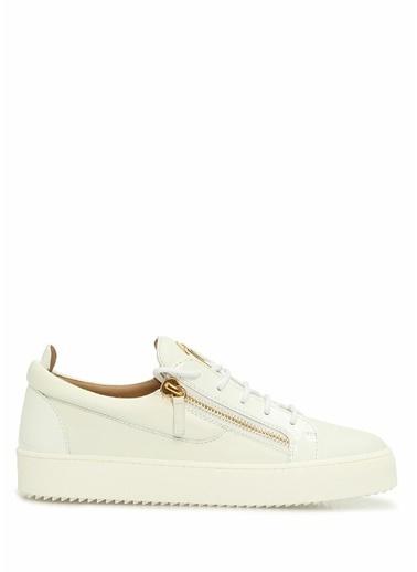 Giuseppe Zanotti Giuseppe Zanotti  Fermuar Detaylı Erkek Deri Sneaker 101625110 Beyaz